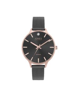 Jones New York Women's Genuine Diamond Rose Gold-Tone Accents Black Metal Strap Analog Watch 33.5mm