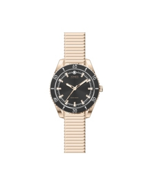Jones New York Women's Genuine Diamond Black Dial and Rose Gold-Tone Expansion Metal Bracelet Analog Watch 34mm