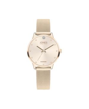 Jones New York Women's Genuine Diamond Shiny Gold-Tone Dial and Mesh Strap Analog Watch 38mm
