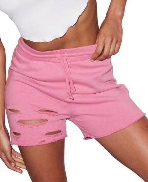 Cotton Distressed Raw-Hem Shorts