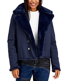 Juniors' Reversible Faux-Fur Coat, Created for Macy's