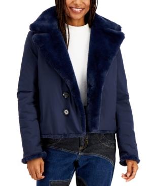 Juniors' Reversible Faux-Fur Coat