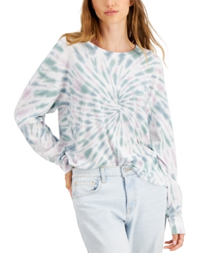 Juniors' Tie-Dyed Long-Sleeve T-Shirt