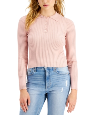 Juniors' Ribbed Polo Sweater