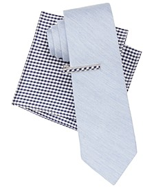 Men's Heather Solid and Gingham Tie, Bar and Pocket Square Set