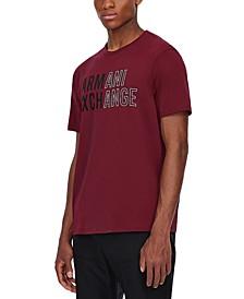 Men's Contrast Logo Textured T-Shirt