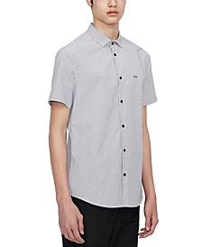 Men's Black Tiny Cross Short-Sleeve Woven Shirt