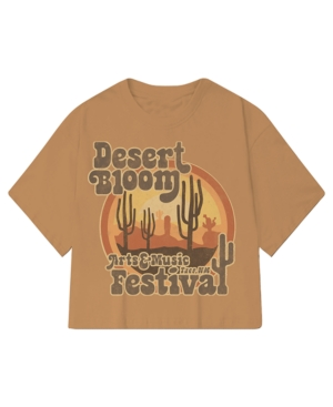 Juniors' Desert Bloom Graphic Cropped Top