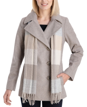 Double-Breasted Plaid-Scarf Peacoat