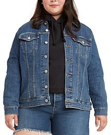 Plus Size Button-Down Original Denim Trucker Jacket