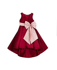 Big Girls Solid Satin Hi Low Dress with Contrast Bow