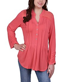 Petite Y-Neck with Rounded Hem Long Sleeve Pleat Front Top