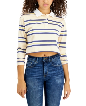 Juniors' Cotton Cropped Striped Polo Shirt