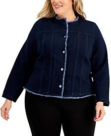 Plus Size Fringed Denim Jacket