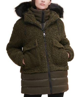 DKNY 우먼 뽀글이 패딩 코트 Faux-Fur-Trim Hooded Puffer Coat