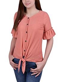 Women's Short Ruffle Sleeve Blouse