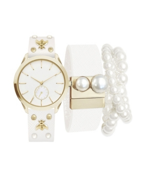 Women's Analog White Strap Watch 36mm with Pearl Beaded Bracelets Set