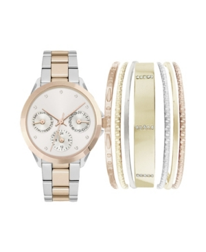 Women's Analog Two-Toned Metal Strap Watch 36mm with Smooth Stackable Bracelets Cubic Zirconia Gift Set