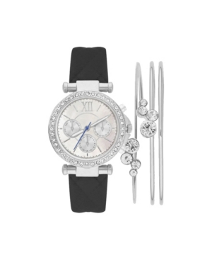Women's Analog Black Quilted Strap Watch 36mm with Stackable Cubic Zirconia Crystal Bracelets Gift Set