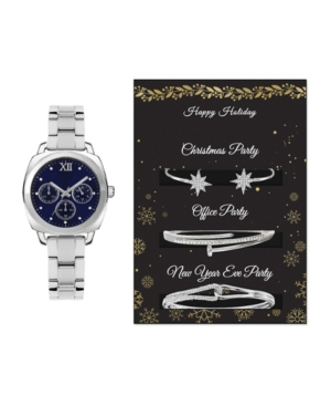 Women's Analog Silver-Toned Metal Strap Watch 34mm with Holiday Party Bracelets Cubic Zirconia Gift Set