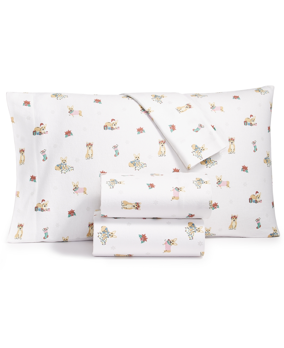 Whim by Martha Stewart Collection Flannel Cotton 4-Pc. Full Sheet Set, Created for Macy's Bedding