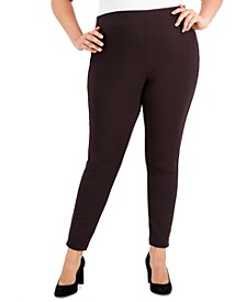 Plus Size Skinny Pull-On Ponte Pants, Created for Macy's