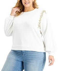 Plus Size Chain-Trim Sweatshirt, Created for Macy's