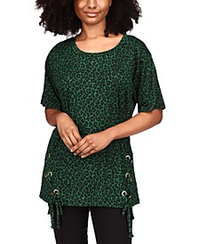 Cheetah-Print Lace-Up Tunic, Regular & Petite