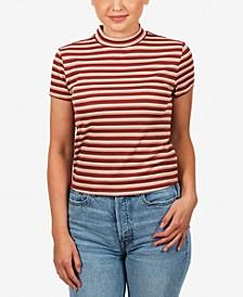 Juniors' Printed Mock-Neck T-Shirt