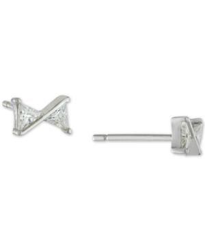 Cubic Zirconia Triangle Stud Earrings in Sterling Silver