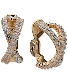 Gold-Tone Pavé Crossover Clip On Earrings
