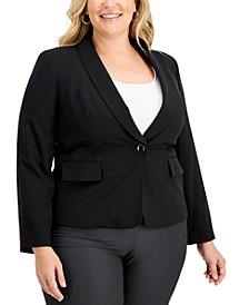 Plus Size Shawl-Collar Single-Button Blazer