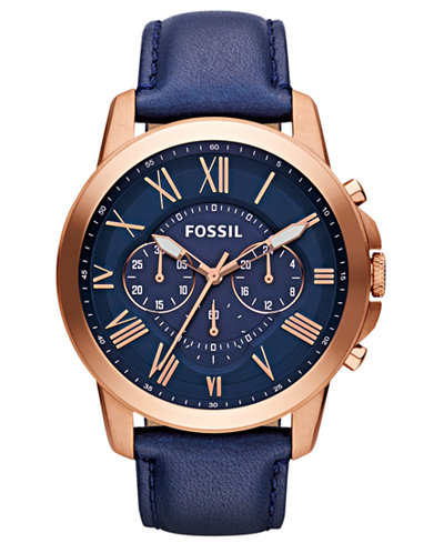 fossil men s grant navy leather strap watch 44mm fs4835 watches fossil men s grant navy leather strap watch 44mm fs4835