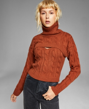 Women's Layered-Look Cable-Knit Sweater