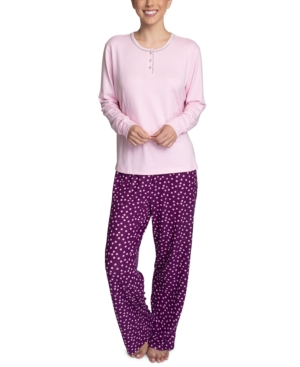Henley Top & Printed Pants Pajama Set