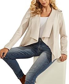 Faux-Suede Sofia Draped Jacket