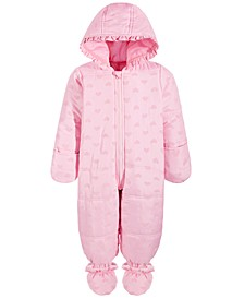 Baby Girls Flocked Heart Snowsuit, Created for Macy's