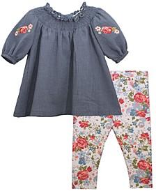 Baby Girls 2-Piece Smocked Gauze Top and Leggings Pant Set