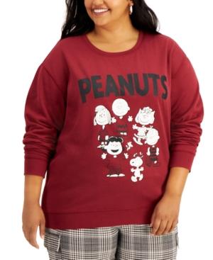 Plus Size Peanuts Screen-Print Sweatshirt