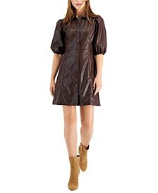 Button Down Puff Sleeve Pleather Dress