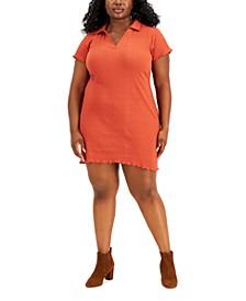 Trendy Plus Size Johnny-Collar Dress