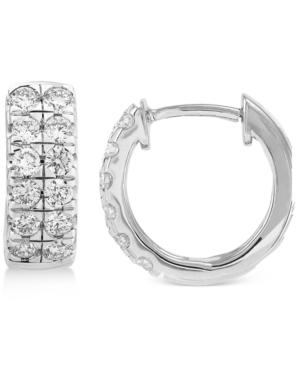 Lab-Created Diamond Double Row Hoop Earrings (3/4 ct. t.w.) in Sterling Silver