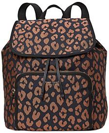 Sam The Little Better Leopard Medium Flap Backpack