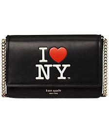 I Heart NY Flap Chain Leather Wallet