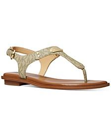 Women's MK Plate Flat Thong Sandals