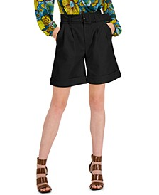 Faux-Leather Paperbag-Waist Shorts, Created for Macy's