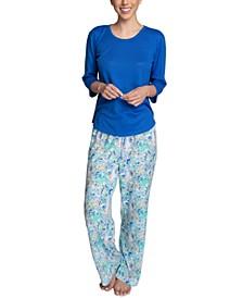 Solid Top & Printed Pajama Pants Set