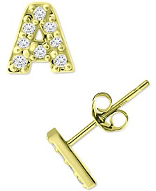 Cubic Zirconia Initial Stud Earrings, Created for Macy's