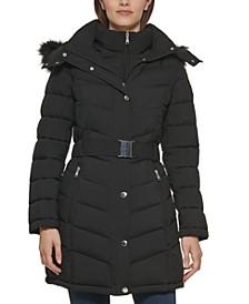 Petite Bibbed Faux-Fur-Trim Hooded Puffer Coat, Created for Macy's