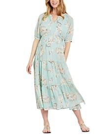 Puff-Sleeve Maternity Dress